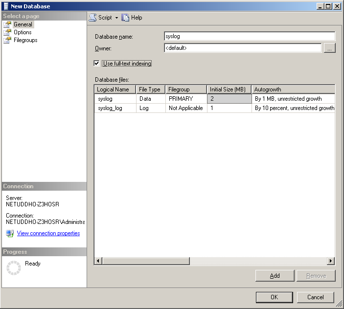 Creating a new MSSQL database 2.