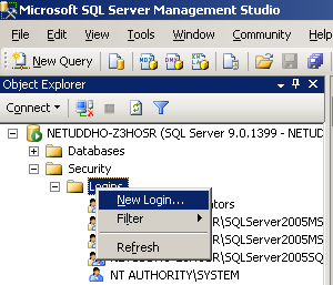 Creating a new MSSQL user 1.