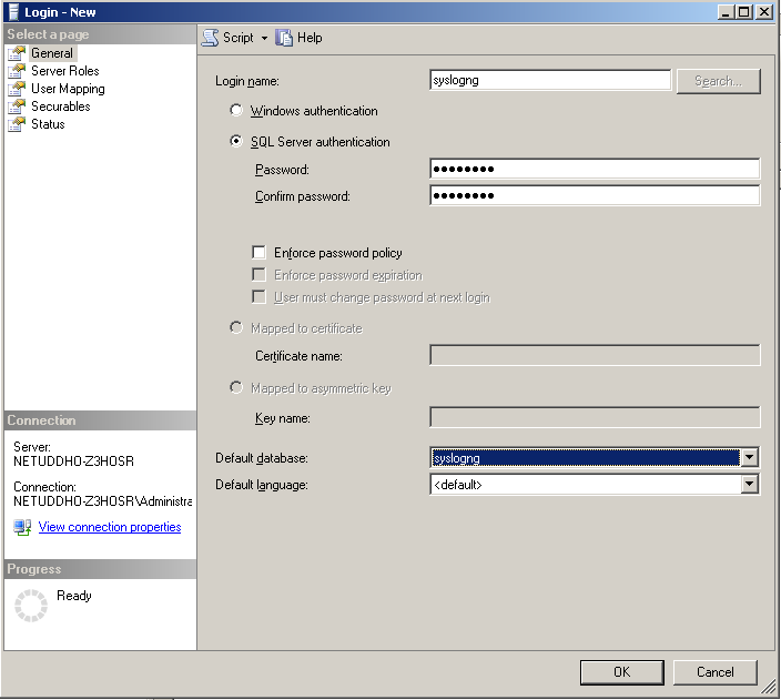 Creating a new MSSQL user 2.